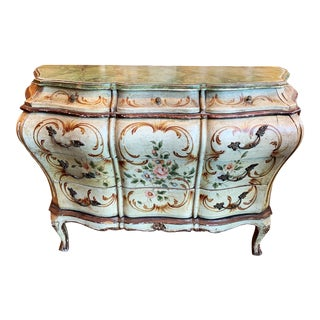 Late 18th/Early 19th Century Venetian Rococo Large Handpainted Chest For Sale