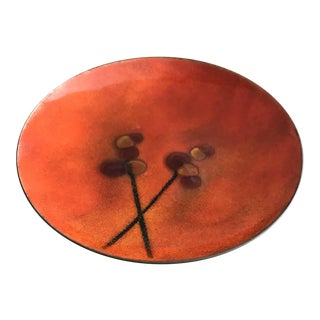 Vintage Copper Bovano PlateTray Enameled Red For Sale