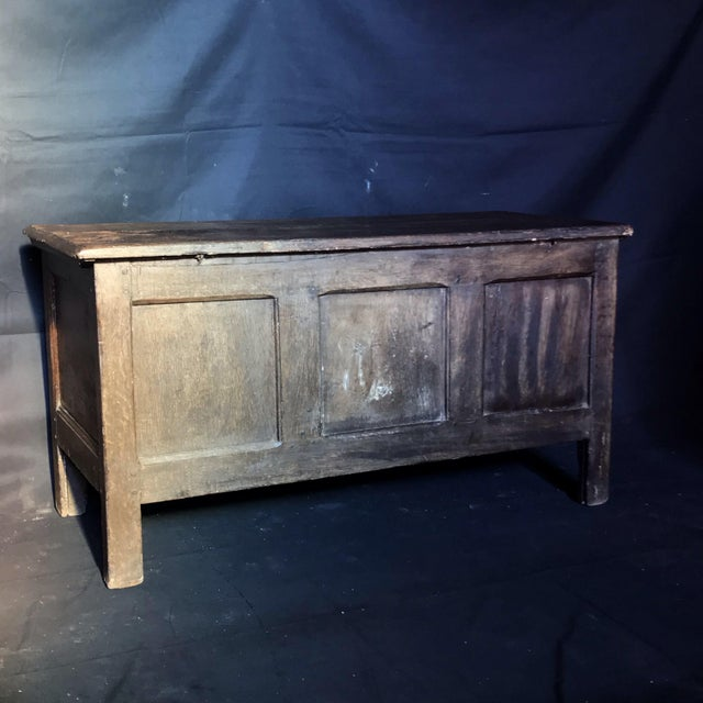 Antique English Paneled Oak Coffer Blanket Chest For Sale - Image 11 of 13