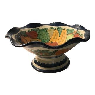 Vintage Italian Hand Painted Fluted Fruit Bowl
