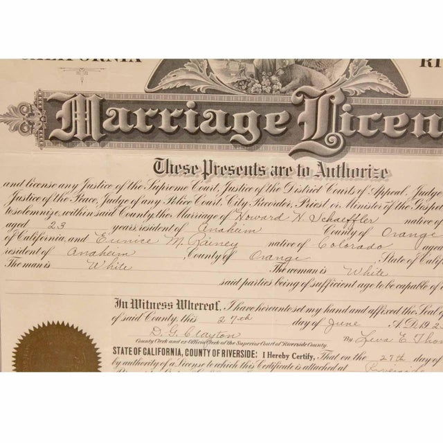 Early American 1925 Framed Marriage License For Sale - Image 3 of 7