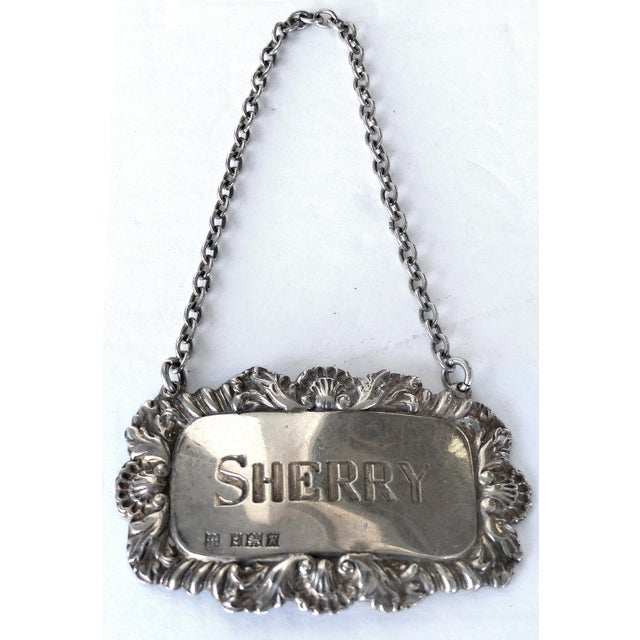 """Sherry"" Sterling Silver Decanter Label For Sale - Image 4 of 4"
