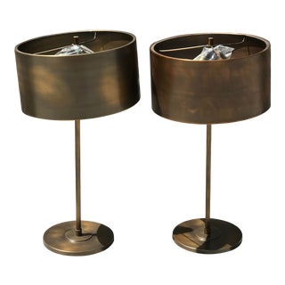 Restoration Hardware Antiqued Metal Drum Table Lamps With Metal Shades - a Pair For Sale
