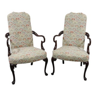 Southwood Queen Anne Shepherds Crook Mahogany Arm Chairs - a Pair