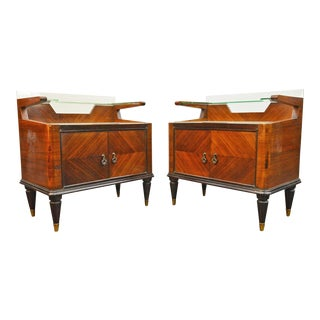 Italian Modern Two Tier Nightstands in Mahogany - a Pair