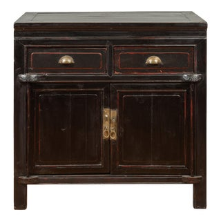 Vintage Chinese Black Lacquered Buffet with Red Highlights, Drawers and Doors For Sale