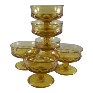 Indiana Glass Company King's Crown Thumbprint Amber Footed Dessert Cups - Set of 6 For Sale