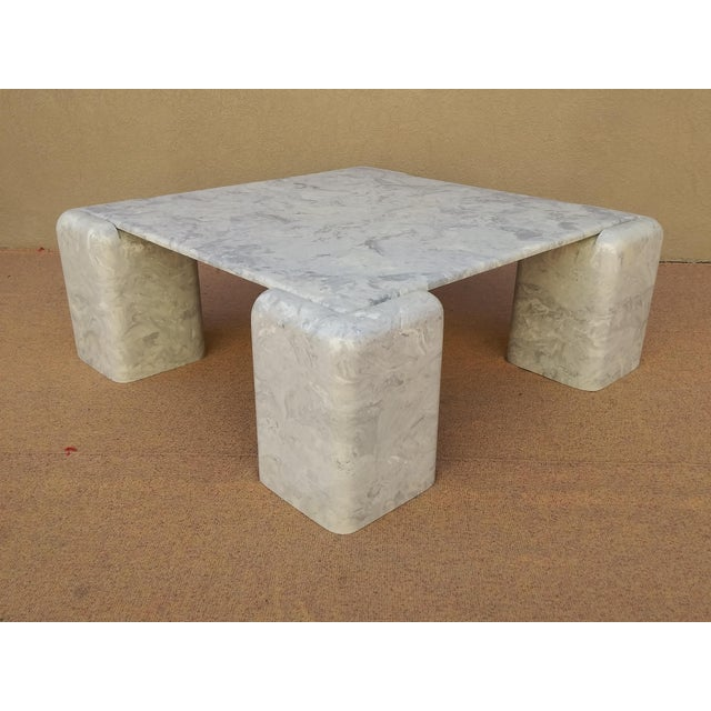 Mid-Century Modern Mid Century Modern Karl Springer Style Marbelized Resin Cocktail Table For Sale - Image 3 of 11
