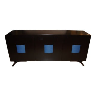 Hollywood Regency Style Dakota Jackson Ebony & Celeste Blu Panel Sideboard For Sale