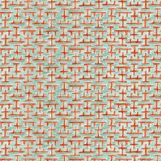 Ferran Ming Fret Fabric, 2 Yards, Jade in Belgian Linen For Sale