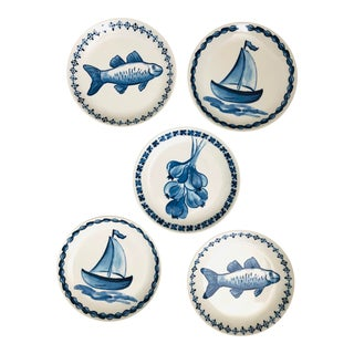 Blue and White Williams Sonoma Tapas Plates - Set of 5 For Sale