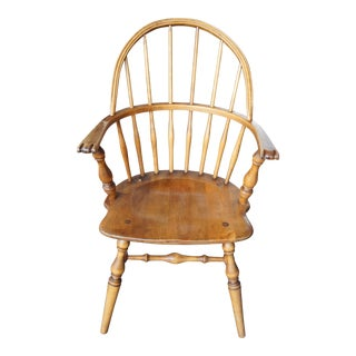 Mid 19th Century Antique Windsor Sack Back Knuckle Arm Chair For Sale