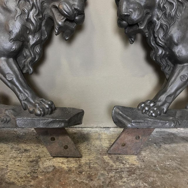 Gray Pair 19th Century Architectural Cast Iron Lion Statues For Sale - Image 8 of 12