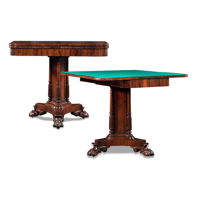 Mid 19th Century Regency Rosewood Card Tables For Sale - Image 5 of 5