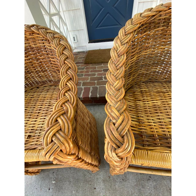 1970s Vintage 1970's Crespi Style Woven Rattan and Bamboo Bar Stools - a Pair For Sale - Image 5 of 13