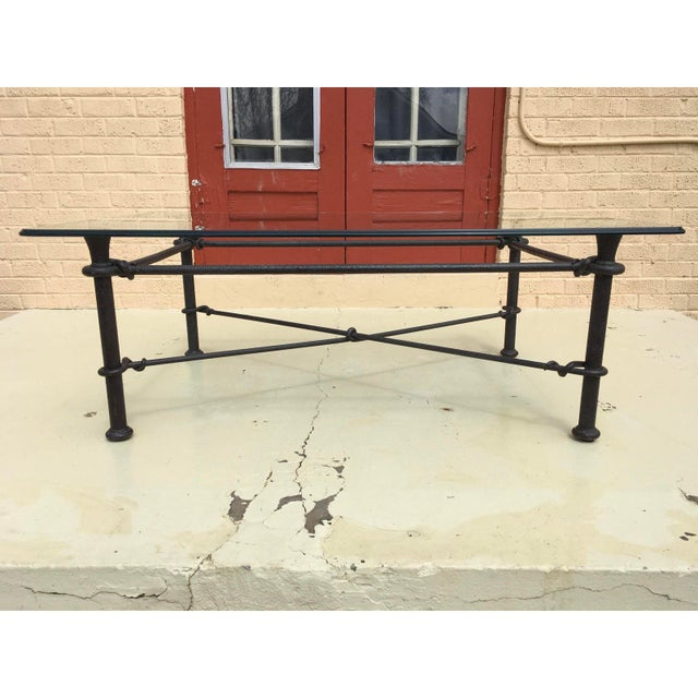 Mid-Century Modern Rectangular Wrought Iron Glass Top Coffee Table After Giacometti For Sale - Image 13 of 13