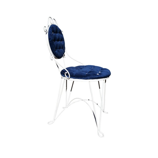 Art Deco 1960s Antique Iron Blue Velvet Vanity Single Chair For Sale - Image 3 of 7