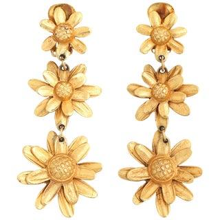 Triple Daisy Dangle Earrings For Sale