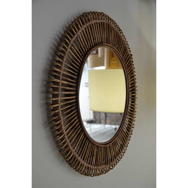 """Contemporary Contemporary """"Oculus"""" Round Rattan Mirrors - a Pair For Sale - Image 3 of 7"""
