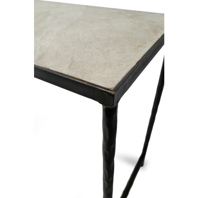 Metal Vintage Modern Marble & Iron Console For Sale - Image 7 of 10
