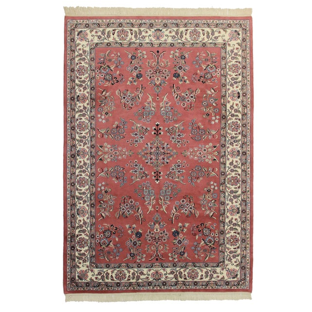 RugsinDallas Hand Knotted Wool Persian Style Rug - 6′ × 8′9″ For Sale