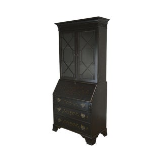 Ethan Allen Black Paint Decorated Chippendale Style Secretary Desk For Sale