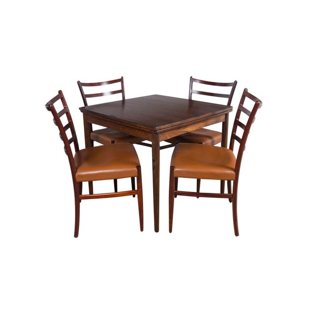 Rosewood Game Table & 4 Chairs For Sale - Image 12 of 13