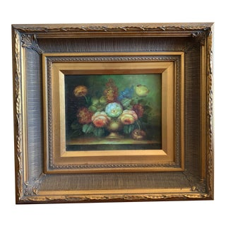 Late 20th Century Original Still Life Oil Painting, Framed For Sale