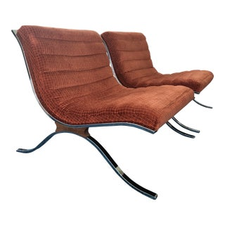 Mid Century Modern Barcelona Style Chairs by Selig- A Pair For Sale