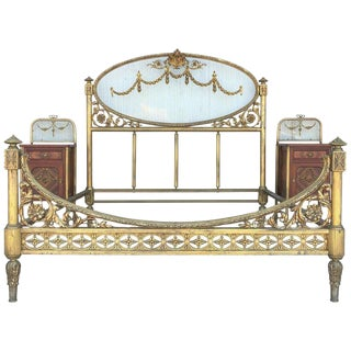 19th Century Full Bedroom Set French Belle Époque Bronze Iron Brass and Glass For Sale