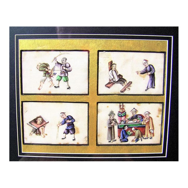 Extremely rare collage of Four Chinese hand-painted silks of Chinese torture techniques, circa 1850. Framed in new frame,...