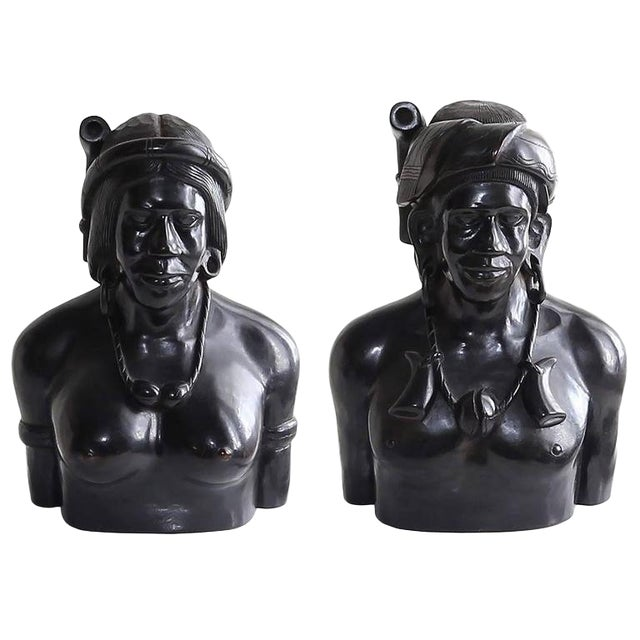 Hand-Carved Wood Bust Sculptures of Tribal Shaman Figures - A Pair For Sale