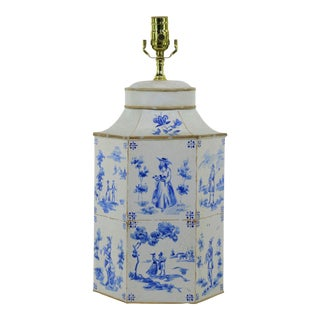 Vintage English Hand-Painted Blue and White in Delf Figures Tea Caddy Table Lamp For Sale