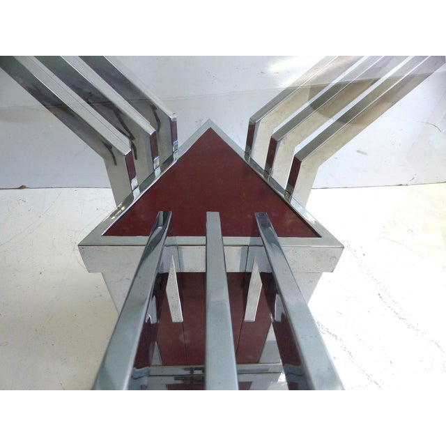 Angled Chrome & Lacquered Dining Table - Image 7 of 7