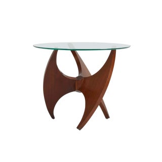 Sculptural Walnut Side Table with Glass Top, 1950s For Sale