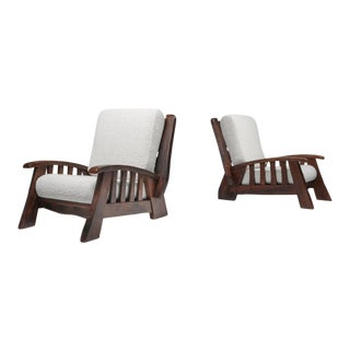 1960s Rustic Modern Pierre Frey Bouclé Re-Upholstered 'Chalet' Club Chairs - a Pair For Sale