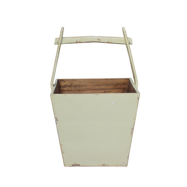 Traditional Chinese Village Vintage Wood Off White Square Handle Bucket For Sale In San Francisco - Image 6 of 6
