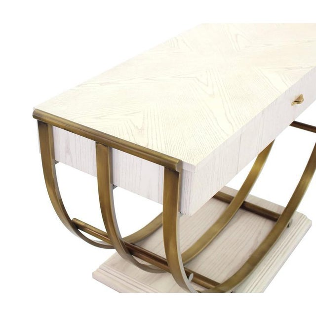 Brass White Pickled Oak Finish Brass U-Shape Base Console Table For Sale - Image 7 of 9