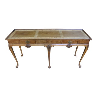 Baker French Provincial Walnut and Burl Wood Top Console Table For Sale