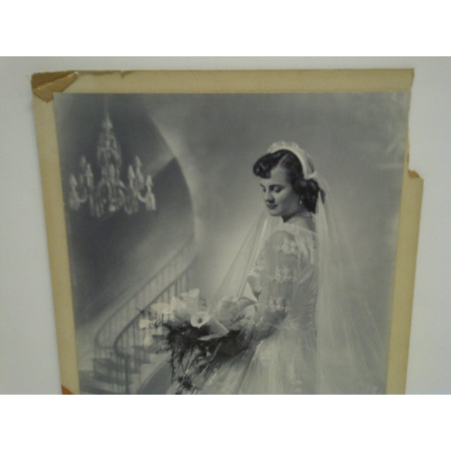 Americana C. 1955 Portrait of a Bride by Vincent Evans Jr. Black & White Photograph For Sale - Image 3 of 6