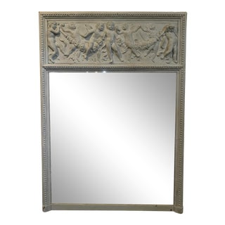 Antique Painted Trumeau Mirror With Italian Putti For Sale