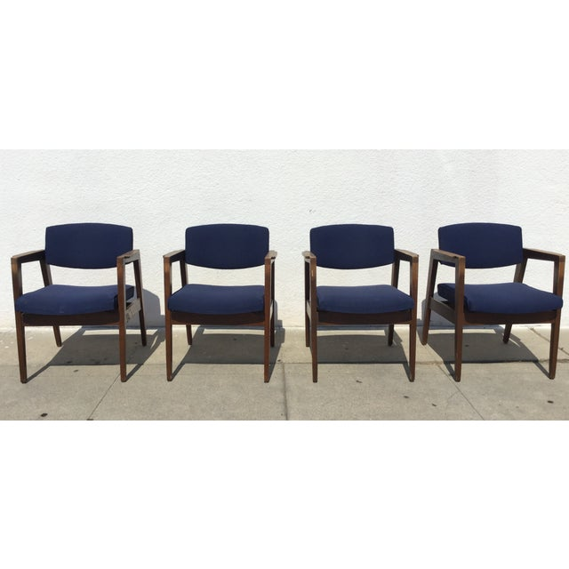Vintage Navy Modern Chairs - Set of 4 - Image 2 of 11