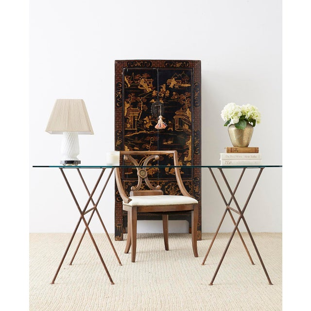 Mid-Century Modern Midcentury Glass Table With Iron X Form Sawhorse Legs For Sale - Image 3 of 13