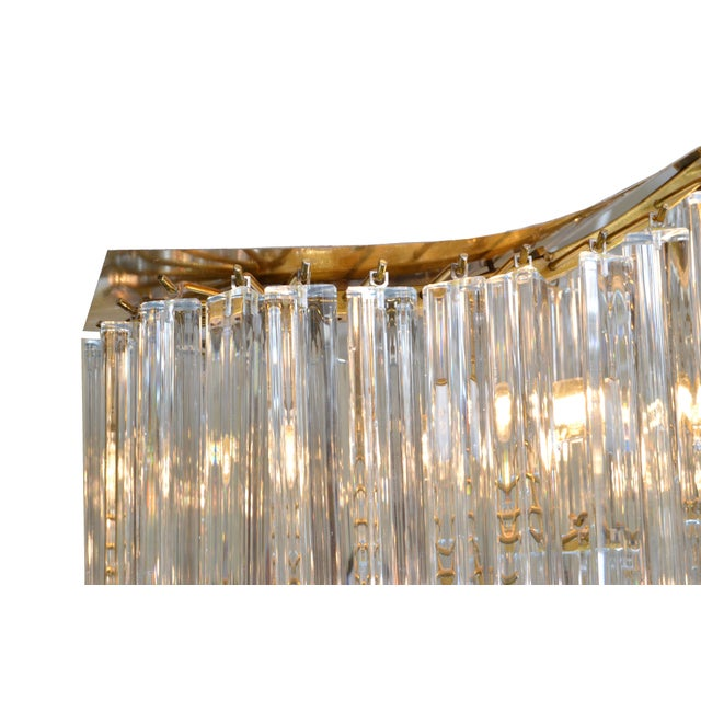 Gold Pagoda Chandelier in Crystal and Brass For Sale - Image 8 of 13