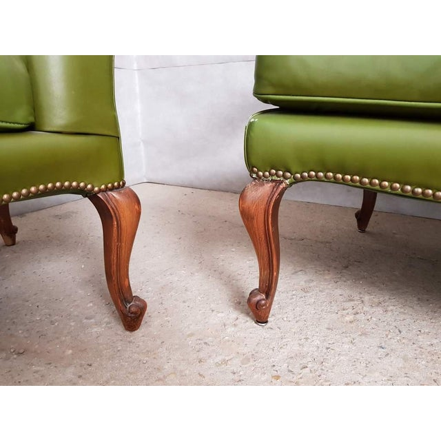 Animal Skin Vintage Mid 20th. C. Queen Anne Style Wing Sofa and 2 Wing Armchairs Suite For Sale - Image 7 of 13