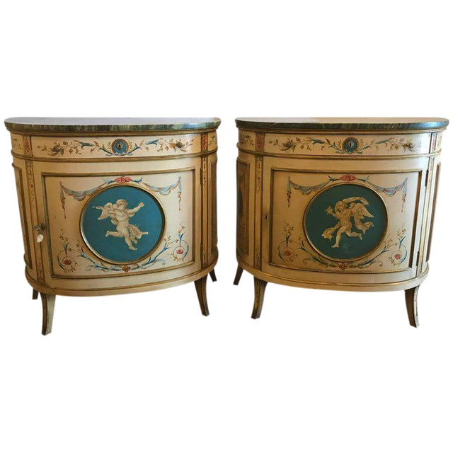 Adams Style Demilune Painted Commodes - A Pair - Image 11 of 11