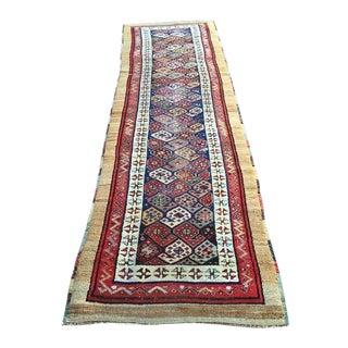 Antique Persian Rug Caucasian Runner Boteh Symbol Rug