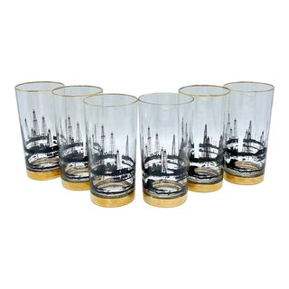 Mid-Century Black and 22k Gold Oil Rig Derrick Highball Cocktail Glasses Set of 6 For Sale
