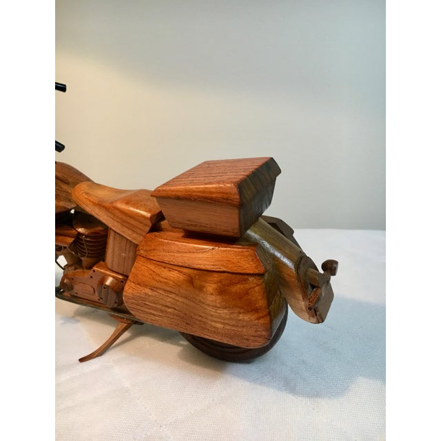 Brown Mid-Century Modern Wooden Model Motorcycle Replica For Sale - Image 8 of 9