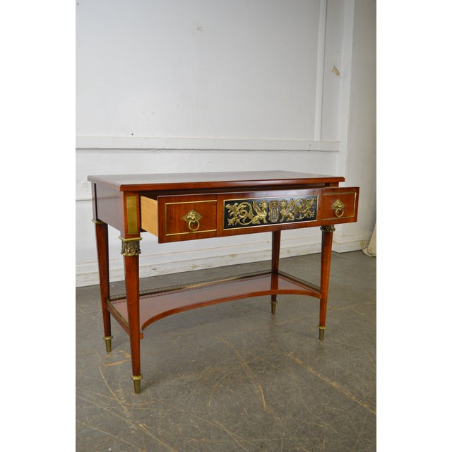 Gold John Widdicomb Neo Classical Style Bronze Mount 1 Drawer Console Table For Sale - Image 8 of 13